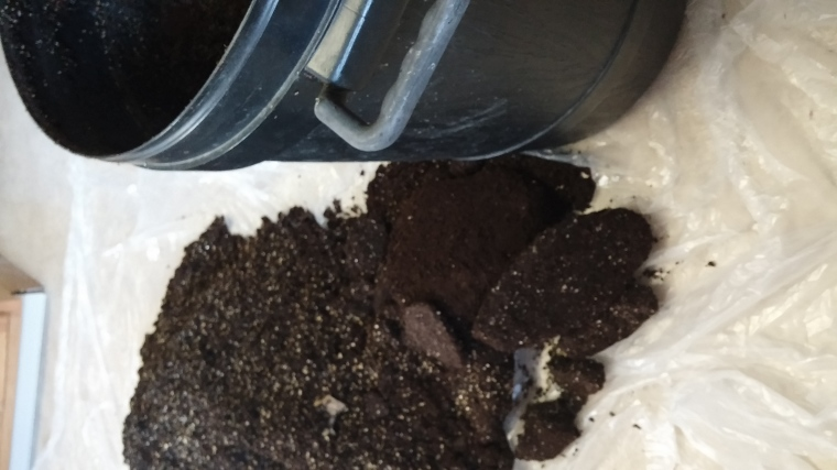 Frozen chunks of soil mix